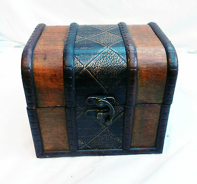 Wooden Leather Banded Pirate Chest / Storage / Trinket Box / Trunk - NEW