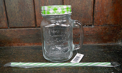 Lidded Mason Jar / Drinking Jar with Handle and Straw - Assorted Colours - BNWT