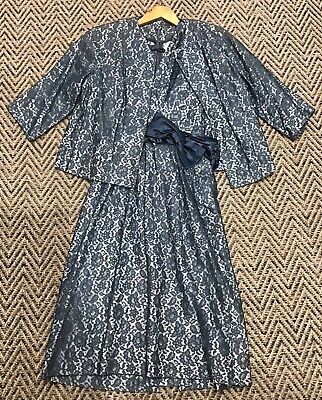 Vintage 1940's Blue Lace 2 Piece, Dress And Jacket