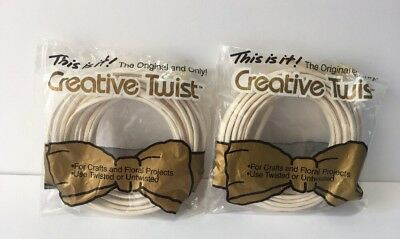 2 Pkg Creative Twists Craft Twisted Paper Wire 6 Yds New White Opens Up To 4 in
