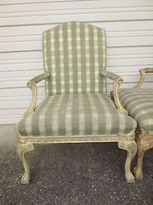 Pair French Wide Chairs Ball Claw Feet 2 of 4 Ornate Captain Louis XVI Regency