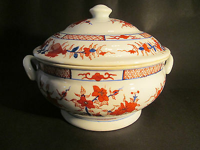 Chinese Ironstone Large Lidded Tureen  1960'S Hand Painted Wild Rose