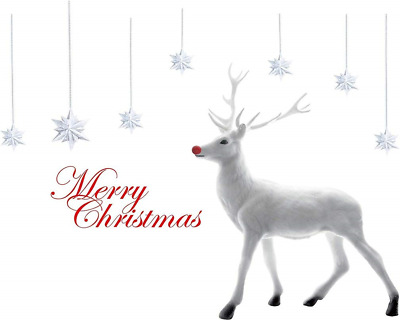 2 Sheets Christmas Window Clings White Deer Decal Wall Stickers - Wonderland