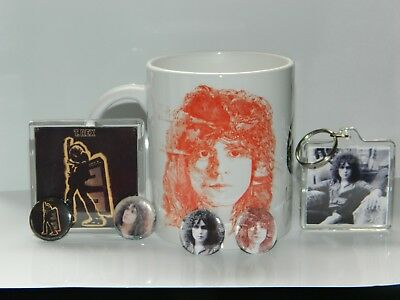 Marc Bolan / T.rex : Electric Warrior Mug /Keyfob/Magnet Set + 4 Free Badges