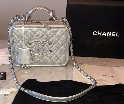 4383a05af96b CHANEL Silver Caviar Filigree Vanity Case Bag Medium Size Receipt + Box RARE