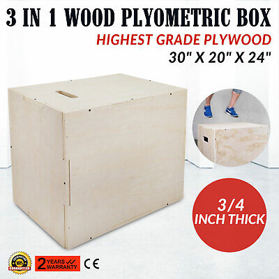 3 in 1 Wood Plyometric Box for Jump 30/24/20 Squats Conditioning Fit Exercise
