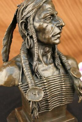 Vintage Solid Cast Bronze Sitting Bull -native American Indian Chief Art Decor