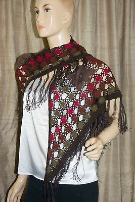 Wonderful Hand Knit Crocheted Shawl Wrap Scarf Browns Fall Colors Fringed