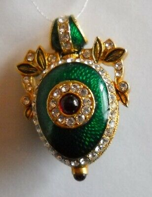 Russian Faberge Egg Pendant Green Silver Enameled with Swarovski Crystals + COA