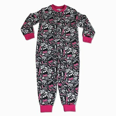 Girls Monster High Pink & Black All In One Pyjamas Long Sleeve Age 5-6 Years NEW