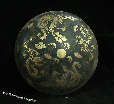 Chinese Wood Lacquerware Handmade animal Dragon Phoenix Jewelry Box Casket case