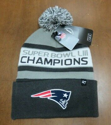 Nfl New England Patriots Super Bowl Liii Champions Winter Hat By 47 Brand Nwt