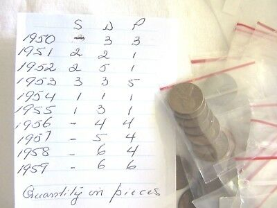 Lot of 77 Coins-1950 to 1959 Lincoln Wheat&Lincoln Memorial ,One Cent-Mix S.D&P