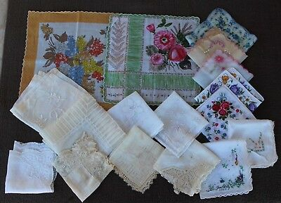 Lot 17  Assorted Vintage Floral, Solid, and Lace Sheer Handkerchiefs