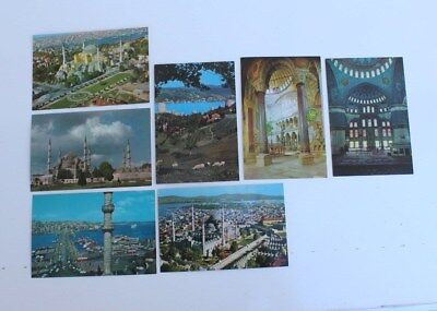 "(7) Vintage unused TURKISH  POSTCARDS  5 5/8"" X 3 3/4"" Mosque's Castles and more"