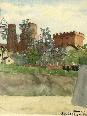 F.A. Eastwood, Fort, Siena, Tuscany - Original 1905 watercolour painting