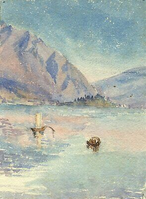 F.A. Eastwood, Mountain Lake, Italy - Late 19th-century watercolour painting