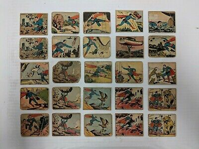 Superman 1940 Gum Lot of 25 Authentic Trading Cards Few Doubles Nice Starter Set