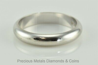 14k Solid White Gold 4mm Polished Rounded Band Wedding Stackable Ring Sz: 7.75
