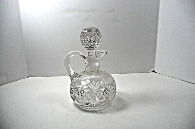 "Antique Hand Cut Hand Blown Crystal Cruet ABP Original Stopper 6"" tall"