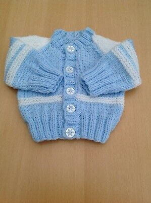 Hand knitted baby boys cardigan In Pale Blue And White 0-3 months Gorgeous