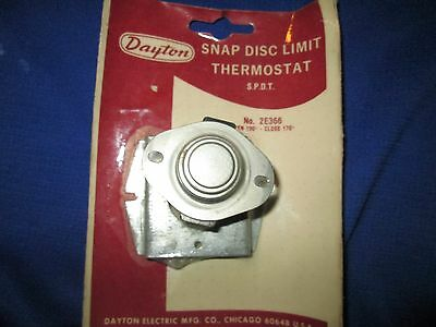 Dayton Snap Disc Limit Thermostat 2E366 OPEN 190 CLOSE 170 degrees surplus fan
