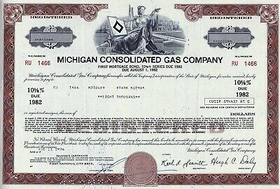 Michigan Consolidated Gas Company, 1974,  10 5/8% Bond due 1982 (8.000 $)
