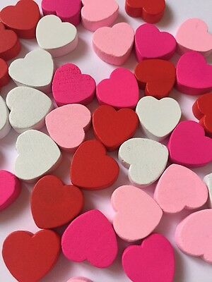 Scrapbooking Embellishments Large Wooden Hearts Red Card Crafts Gift