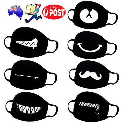 Cotton Face Masks Black Windproof Mask Cute Half Face Mouth Muffle Masks PM2.5 A