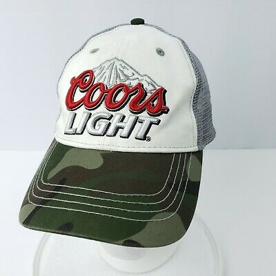 210fc2a97f344 Coors Light Baseball Hat Cap Mesh Trucker Camo Brim Adjustable Strapback