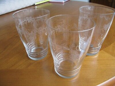 3 Vintage Etched Glass Tumblers - VGC