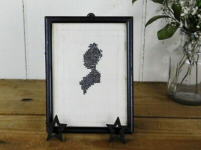 Antique Silhouette Lovely Victorian Woman Framed Cross Stitch on Hand Spun Linen
