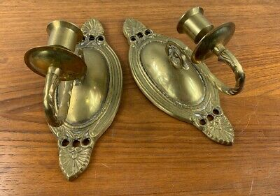 2 Antique Brass Wall Mount Hanging Candle Stick Holders