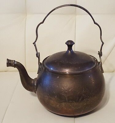 Antique Brass Teapot Made in India ornate etched engraved floral
