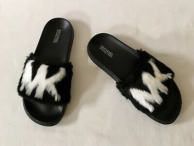 92c23f4a2b40 Women Michael Kors MK Gilmore Slide Slip On Sandals Faux Fur Black Optic  White