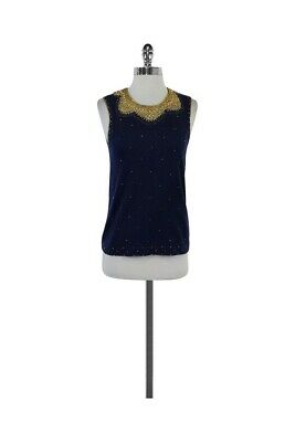2b1addc10d8 LILLY PULITZER BEADED Kate Sweater in Navy and Gold Sleeveless Top ...