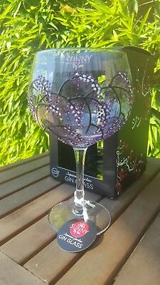 Sunny By Sue Red /& Black Flowers Large Balloon Gin Copa Glass Hand Painted Gift