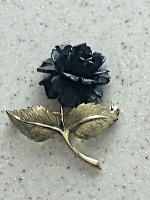 Gorgeous Vintage Black Carved Rose Gold Tone Sterling Germany M Pin