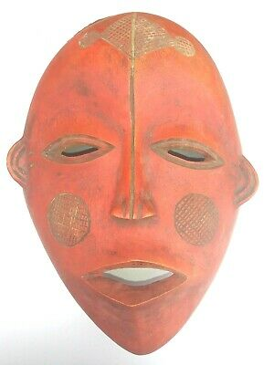 African Chewa /  Nyau Tribal hand carved Wood dance Mask / Red painted