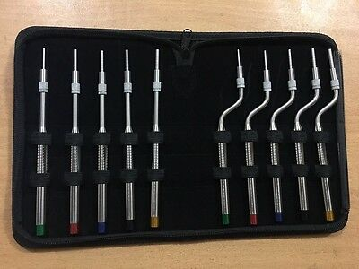 Professional Osteotomes for Sinus Lift SET OF 10 Offset Convex Tip Instruments