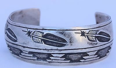 Native American Navajo sterling silver feathers cuff bracelet by Wilbur Anderson