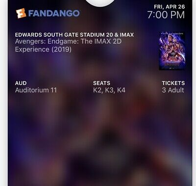 3 AVENGERS END GAME IMAX 2D Tickets For Friday Night Showing