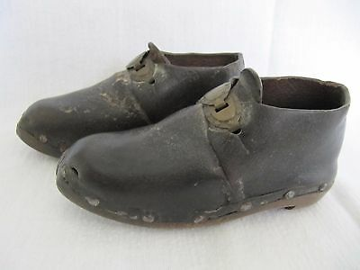 Antique Child's / Baby's Wooden & Leather Clogs