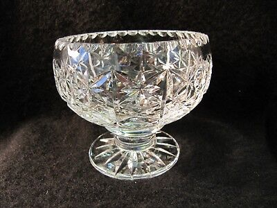 "Thomas Webb Crystal Cut Glass Footed Vase / Rose Bowl with Metal Frog -3.5"" tal"