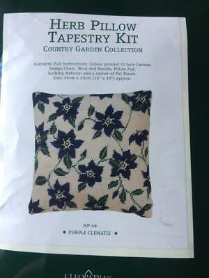 Herb Pillow Cushion Tapestry Kit 'Purple Clematis' by Cleopatra's Needle