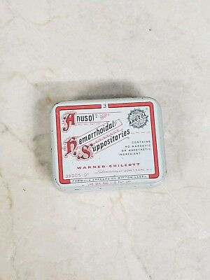 Vintage Physician's Sample Anusol Hemorrhoidal Suppositories Empty Tin