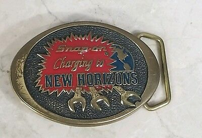Vintage Snap On Tools Solid Brass Charging to New Horizons Wrench Belt Buckle NM