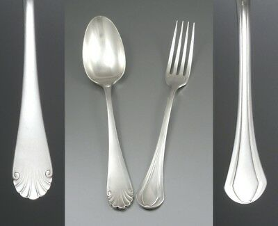 Antique French Christofle Silver Plated Dinner Printania Fork & Directoire Spoon