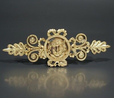 Antique French Gilded Bronze Ornament, Empire Period, Classical Head