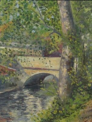 Antique French Oil Painting, Bridge on a River in Lorraine, Signed Jules Pascaly